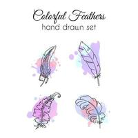 Vector feathers set. Hand drawn ethnic elements. Sketchy feather.