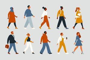 foule d'hommes et de femmes jeunes et âgés vêtus de vêtements hipster à la mode. le groupe diversifié de personnes élégantes qui vont ensemble. société, mixité sociale, carrière. illustration vectorielle de dessin animé plat. vecteur
