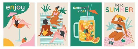 vue de dessus d'un fond d'été. nager l'été, nager, plonger dans un grand verre de cocktail ou de smoothie. les femmes se détendent à la plage. cartes vectorielles, illustration de conception d'affiches. vecteur