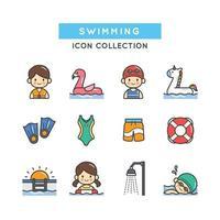 ensemble d'icônes de natation vecteur