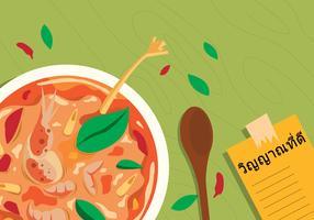 Illustration vectorielle de Bangkok cuisine traditionnelle vue de dessus