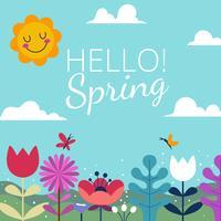 Bonjour les milieux de printemps vecteur