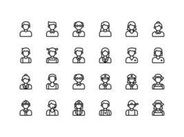 jeu d'icônes de contour d'avatar utilisateur vecteur