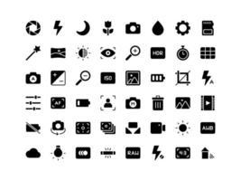 jeu d'icônes de glyphe d'interface de caméra vecteur