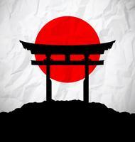 Drapeau du Japon au lever du soleil avec porte du Japon vecteur
