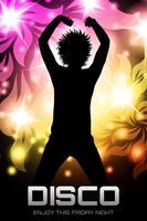Affiche de soirée disco florale vecteur