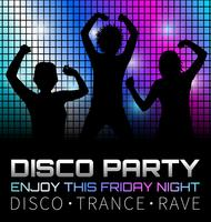 Affiche disco avec des danseurs, illustration vectorielle graphique vecteur