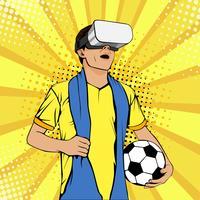 Fan de football dans des lunettes de réalité virtuelle vecteur