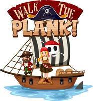 marcher la bannière de police de planche avec un personnage de dessin animé de pirate vecteur