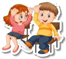 modèle d'autocollant avec couple d'enfants étudiants personnage de dessin animé isolé vecteur