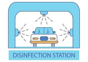 tunnel de désinfection. station ou services de désinfection. tunnel d'assainissement pour véhicule. nettoyer les surfaces dans une voiture. véhicule de nettoyage et de lavage. icône de lave-auto. nettoyage automobile vecteur