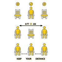 garde tes distances. ne vous asseyez pas ici. icône interdite pour le siège. Distanciation sociale de 6 pieds ou 2 mètres pour le siège de la chaise. règle de confinement. gardez vos distances lorsque vous êtes assis. homme sur la chaise vecteur