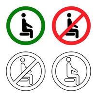 assis à distance. asseyez-vous ici, s'il vous plaît. ne vous asseyez pas ici. icône interdite pour le siège. signe d'interdiction. règle de confinement. gardez vos distances lorsque vous êtes assis. homme sur la chaise. vecteur