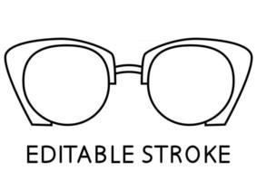 monture de lunettes noires. lunettes de soleil contour illustration vectorielle. silhouette de jante de lunettes de style moderne. accessoires optiques élégants pour hommes et femmes. trait modifiable. vecteur