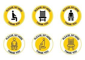 s'il vous plaît, asseyez-vous ici. vous pouvez vous asseoir ici. icônes assis. signe d'interdiction. règle de confinement. asseyez-vous sur cette chaise. gardez vos distances lorsque vous êtes assis. prévention des coronavirus, icônes. vecteur