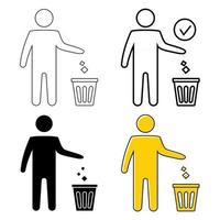 symbole des ordures. icône de la corbeille. icône jetable. symbole de l'homme bien rangé, ne jetez pas de déchets, icône, restez propre. l'homme jette les ordures dans la poubelle. icône de vecteur de corbeille, symbole de réutilisation. trait modifiable