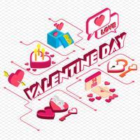 illustration du concept d'icône graphique valentine info