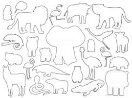 ensemble de silhouettes d'animaux. vecteur contour dessin animé isolé graphique illustration dessinée à la main. éléphant hippopotame zèbre flamant lion sanglier tapir manchot wombat ours marmotte caméléon crocodile kiwi serpent
