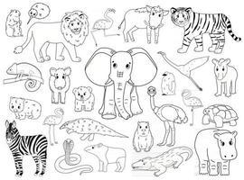 ensemble d'animaux du monde doodle. vecteur contour dessin animé isolé graphique illustration dessinée à la main. éléphant hippopotame zèbre flamant lion sanglier tapir manchot wombat ours marmotte caméléon crocodile kiwi serpent