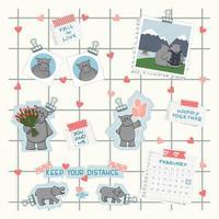 Le tableau d'humeur est sur un mur blanc avec des photos et un classeur en papier bleu. ensemble d'hippopotames dans différentes situations sur papier découpé. avatars, tulipes, ballons, choix de voyage, SMS, calendrier de février 2021 vecteur