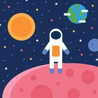Space Boy atterrissant sur une autre planète