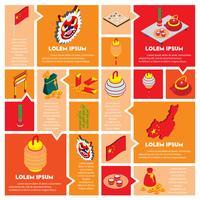 illustration des icônes d'objets graphiques chinois info mis concept