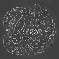 Conception de la typographie de la reine. Lettrage imprimé pour poster