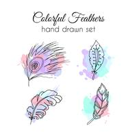 Jeu de plumes de vecteur. Éléments ethniques dessinés à la main. Plume fragmentaire.