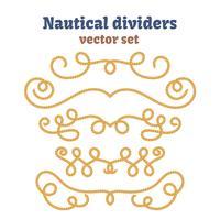 Cordes nautiques. Ensemble de diviseurs. Noeuds décoratifs de vecteur.