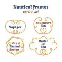 Ensemble de cadres nautiques. Les cordes tournoient. Noeuds décoratifs de vecteur.