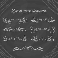 Diviseurs de craie dessinés à la main sur tableau noir vecteur