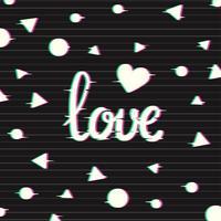 Carte d'amour avec effet glitch vecteur