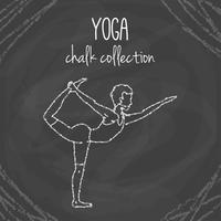 Craie yoga pose illustrations sur tableau noir