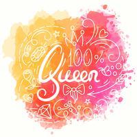 Conception de la typographie de la reine. Lettrage imprimé pour t-shirt. vecteur