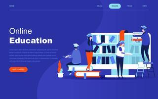 Concept de design plat moderne de l'éducation en ligne