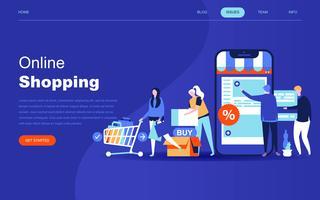 Concept de design plat moderne de shopping en ligne vecteur