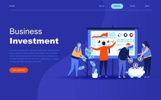 Concept de design plat moderne d'investissement des entreprises pour site Web