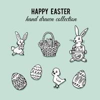 Éléments de Pâques dessinés à la main