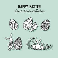 Ensemble d'éléments de Pâques dessinés à la main