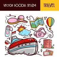 Icône de doodles de voyage. Set d'illustration vectorielle