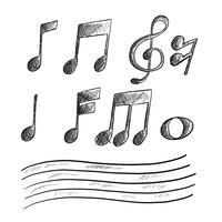 Croquis de la note de musique dessiné à la main vecteur