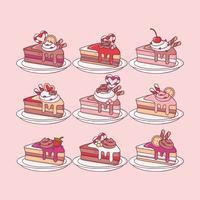 Tranches de gâteau colorées de vecteur