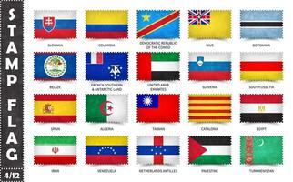 timbre avec le motif officiel du drapeau du pays et l'ancienne texture grunge et le nom du pays. forme rectangulaire. vecteur. ensemble 4 de 12 sur cette série tous les drapeaux nationaux du monde. vecteur