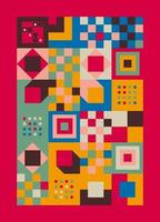 illustration de fond géométrique abstrait bauhaus, vecteur gratuit de formes géométriques murales colorées design plat