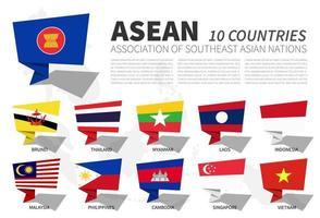 drapeau de l'asean et adhésion sur fond de carte de l'asie du sud-est. conception de bulles de discours. vecteur