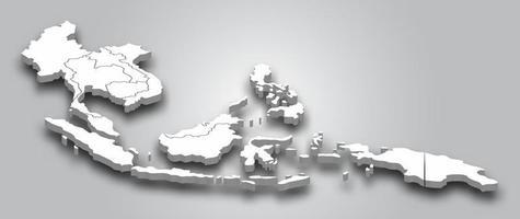 Carte 3D de l'Asie du Sud-Est avec vue en perspective sur fond dégradé de couleur grise. vecteur. vecteur
