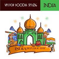Dessiné Main République Indienne Jour Illustration Vecteur