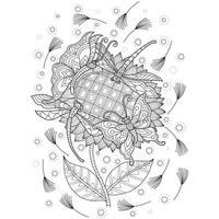 libellule, papillon et tournesol dessinés à la main pour un livre de coloriage pour adultes vecteur