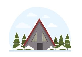 Illustration de paysage d'hiver de vecteur