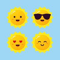 Sun emoji set vecteur